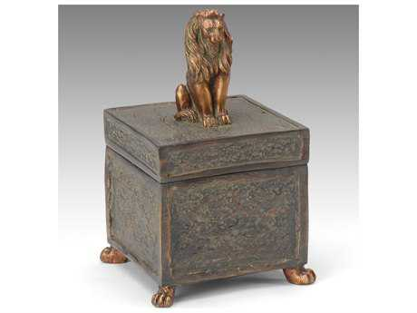Wildwood Lamps Lion Lid Distressed Bronze On Faux Bronze Jewelry Box