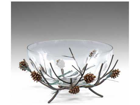 Wildwood Lamps Pine Centrepiece Iron And Faux Wood Blown Glass Bowl Decorative Bowl