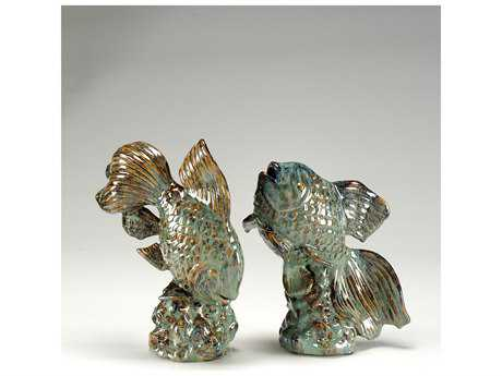 Wildwood Lamps Swimming Goldfish Fired Ceramic Sculpture (Set Of Two)
