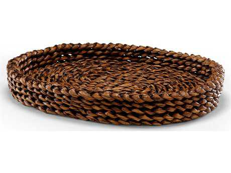 Wildwood Lamps Braided Hand Braided Natural Fiber Serving Tray