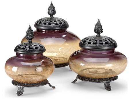 Wildwood Lamps Covered Jars Art Glass Aluminum Fittings Urn (Set Of Three)