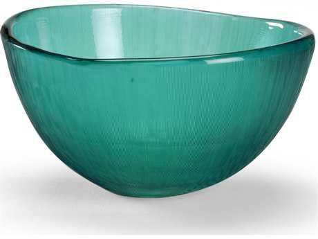 Wildwood Lamps Centrepiece Glass Bowl Grey Blue With Lines Cutting Decorative Bowl