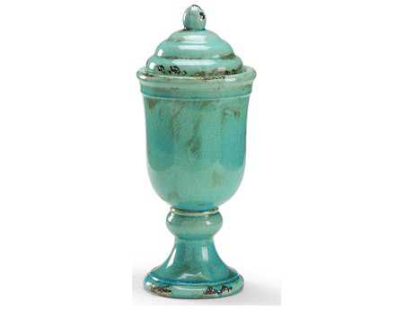 Wildwood Lamps Covered Compote Fired Ceramic Antiqued Glaze Urn