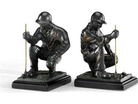 Wildwood Lamps Golfer Cast Brass Bronze Pair Of Bookends