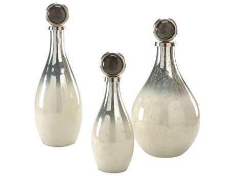 Wildwood Lamps Palacio Bottles Art Glass Nickel And Snow White Vases (Set Of Three)