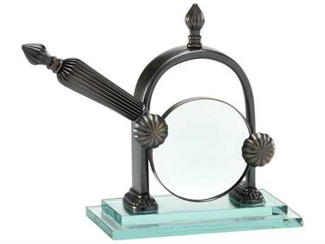 Wildwood Lamps Magnifier Stand Solid Brass Old Bronze 2 Piece Glass Plinth Decorative Accent