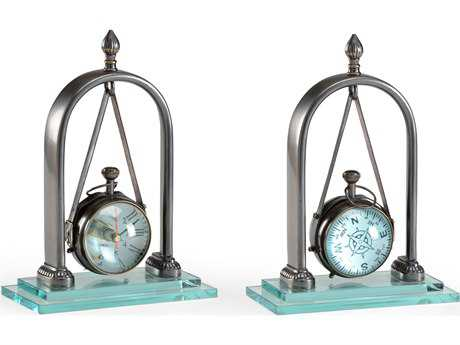 Wildwood Lamps Hanging Clock Solid Brass With Bronze Glass Plinth Decorative Accent