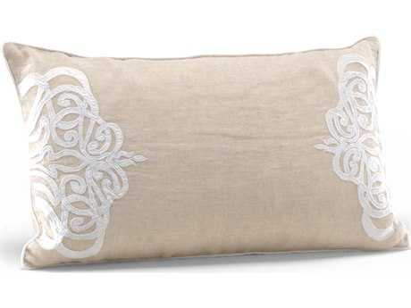 Wildwood Lamps Platinum Medallion Wheat And Ivory Linen Feather/Down Filling Pillow