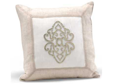 Wildwood Lamps Platinum Center Medallion Beige & Ivory Feather/Down Filling Pillow