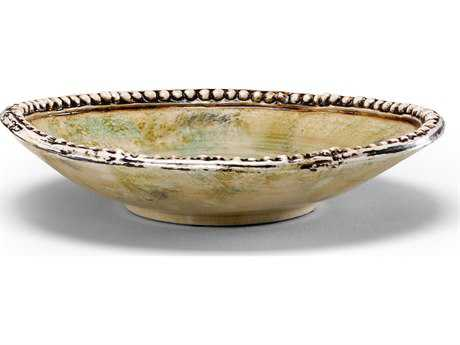 Wildwood Lamps Beaded Centrepiece Tray Olde Roman Glaze Euro Ceramic Decorative Plate
