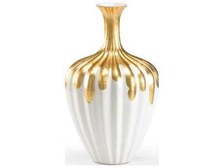 Wildwood Lamps Gold Neck Bottle Large Gold On Fired Ceramic Vase