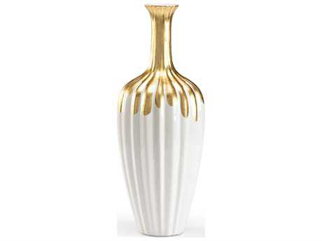 Wildwood Lamps Tall Gold Neck Bottle Gold On Fired Ceramic Vase