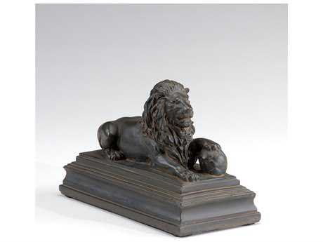 Wildwood Lamps Lion Old Black Marble Cast Stone Sculpture