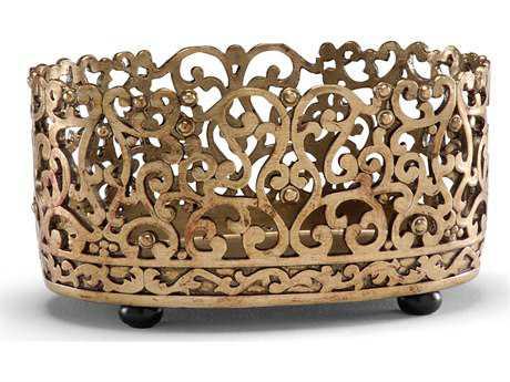 Wildwood Lamps Basket Planter Gold Leaf Cast Composite Hand Finished Decorative Plate