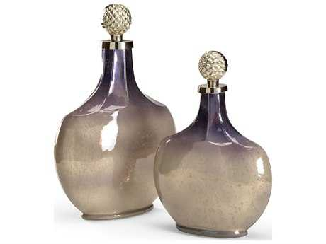 Wildwood Lamps Ombre Vessel Art Glass Cast Metal Stoppers Vase (Set Of Two)
