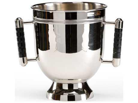 Wildwood Lamps Handled Polished Nickel Wood Handles Wine Cooler