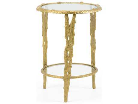 Wildwood Lamps Woody Cast Aluminum Old Gold Accent Table