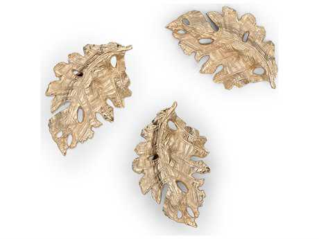 Wildwood Lamps Fallen Leaves Cast Aluminum Champagne Decorative Accent (Set Of Three)