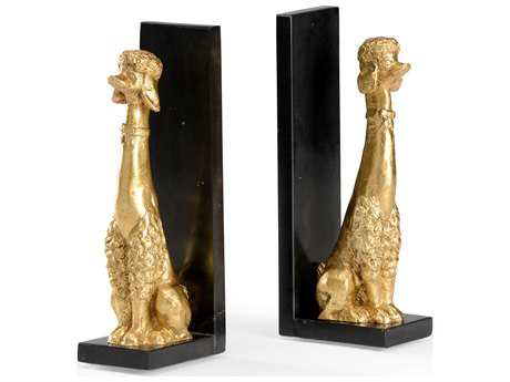 Wildwood Lamps Gold Leaf Black Marble Plinth Pair Of Fancy Dog Bookends