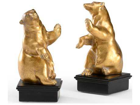 Wildwood Lamps Cast Composite In Gold Leaf Black Base Pair Of Dancing Bear Bookends
