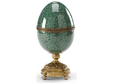 Wildwood Lamps Egg Porcelain With Solid Brass Jewelry Box