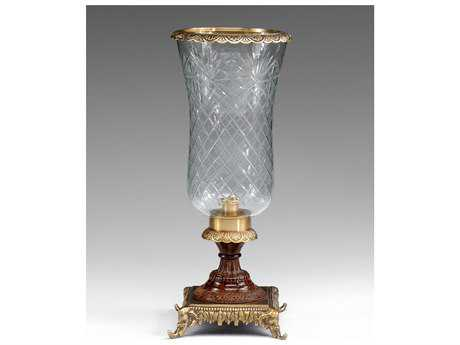 Wildwood Lamps Cut Crystal Hurricane Patina On Cast Brass Crystal Candle Holder