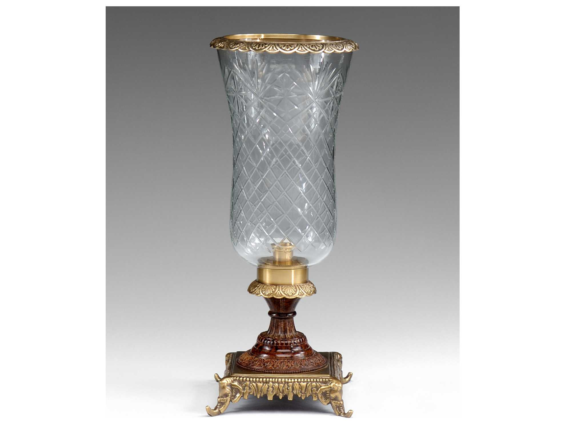 Wildwood Lamps Cut Crystal Hurricane Patina On Cast Brass