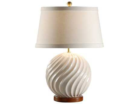 Wildwood Lamps Ball In Twist Antique White Hand Glazed Table Lamp