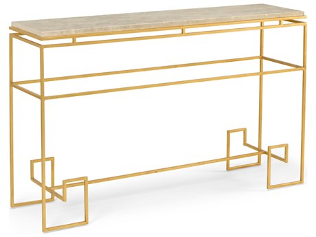 Wildwood Lamps Athena Antique Gold Leaf And Creme 52'' x 14'' Rectangular Console Table