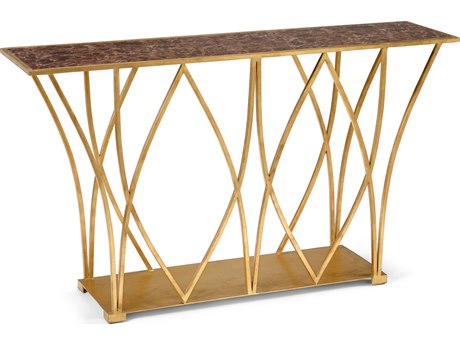 Wildwood Lamps Cliton Antique Gold Leaf And Faux Mocha Marble 58'' x 14'' Rectangular Console Table