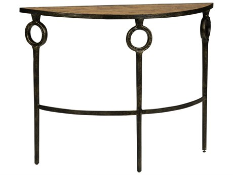 Wildwood Lamps Hudson Bronze And Faux Burl Wood 43.75'' x 14.5'' Demilune Console Table