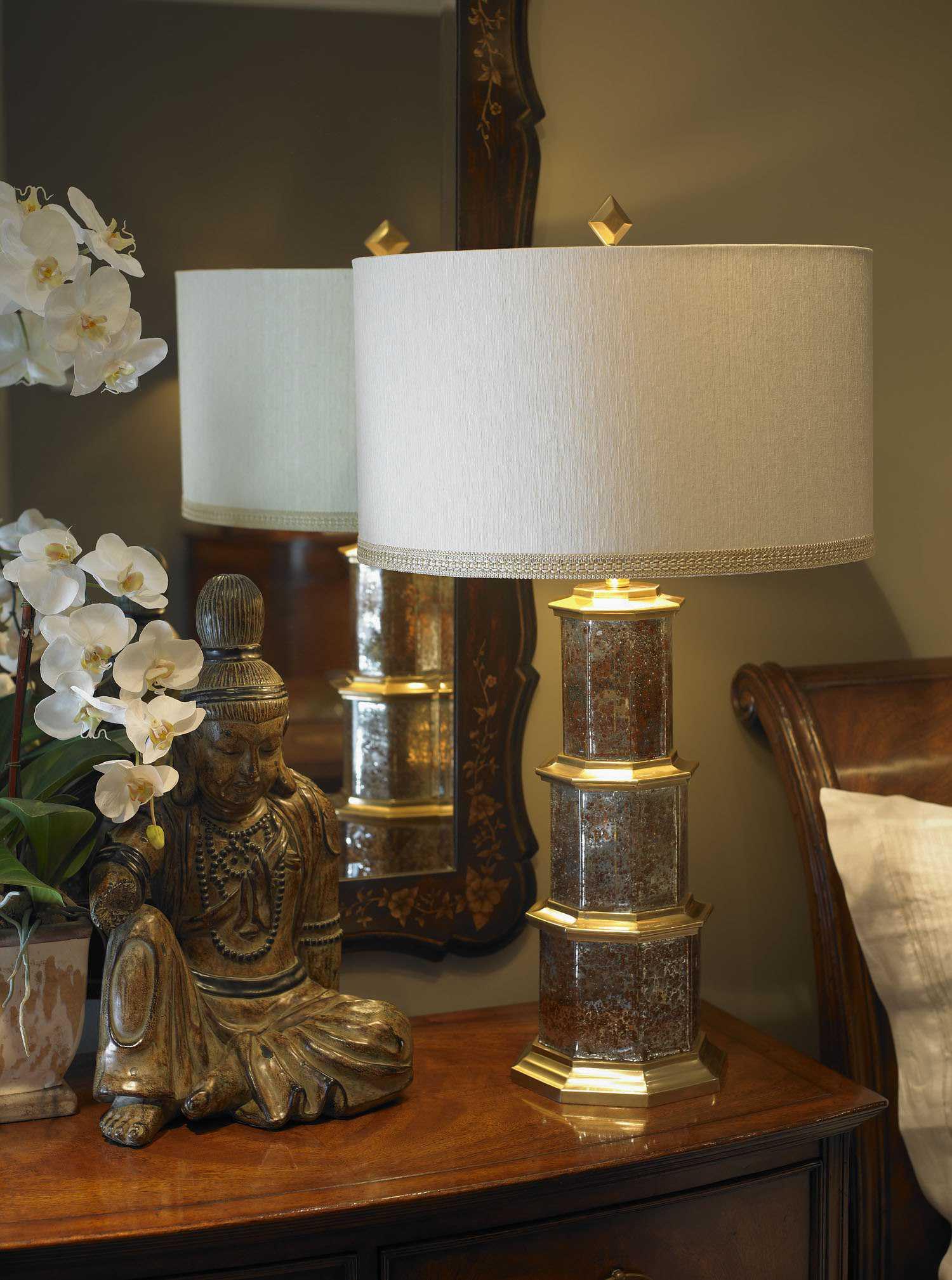 Wildwood Lamps Zhending Octagonal Mercury Glass Ant Brass