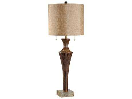 Wildwood Lamps Art Finished Aluminum Marble Base Brass Accents Scored Fountain Buffet Lamp
