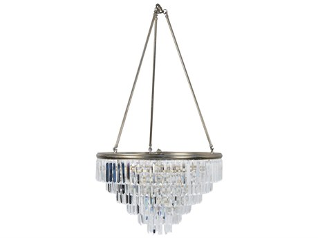 Wildwood Luxor Clear Crystals On Antique Silver Leaf Six-Light 24'' Wide Chandelier