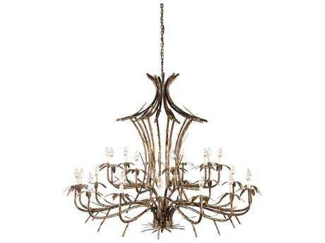 Wildwood Bronze Bamboo Hand Colored Iron-25 Lights 25-Light 60'' Wide Grand Chandelier