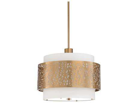 Wildwood Web Antique Brass And White Linen Three-Light 22'' Wide Pendant Light
