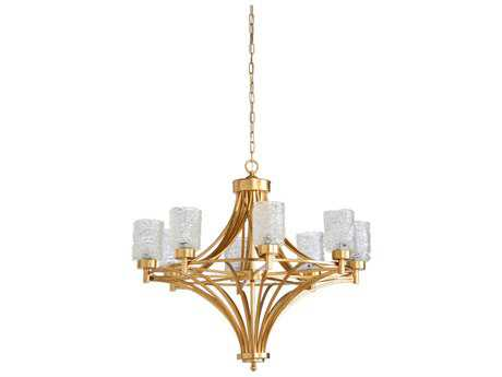 Wildwood Urbano Gold Leaf And Clear Eight-Light 35'' Wide Chandelier
