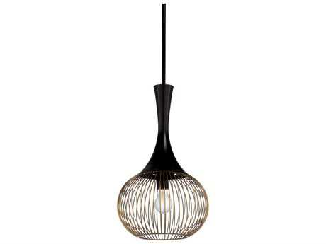 Wildwood Contour Antique Brass And Black 12'' Wide Pendant Light