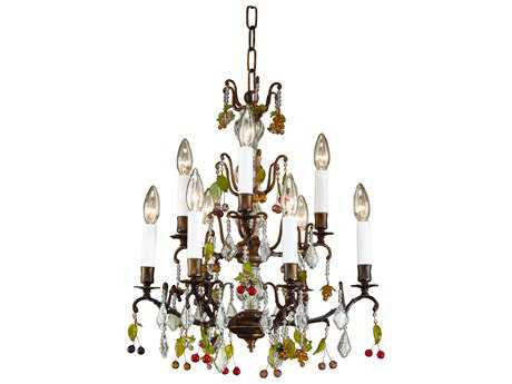 Wildwood Lamps Bronze Grapes Oxidized Brass Crystal Nine-Light Chandelier