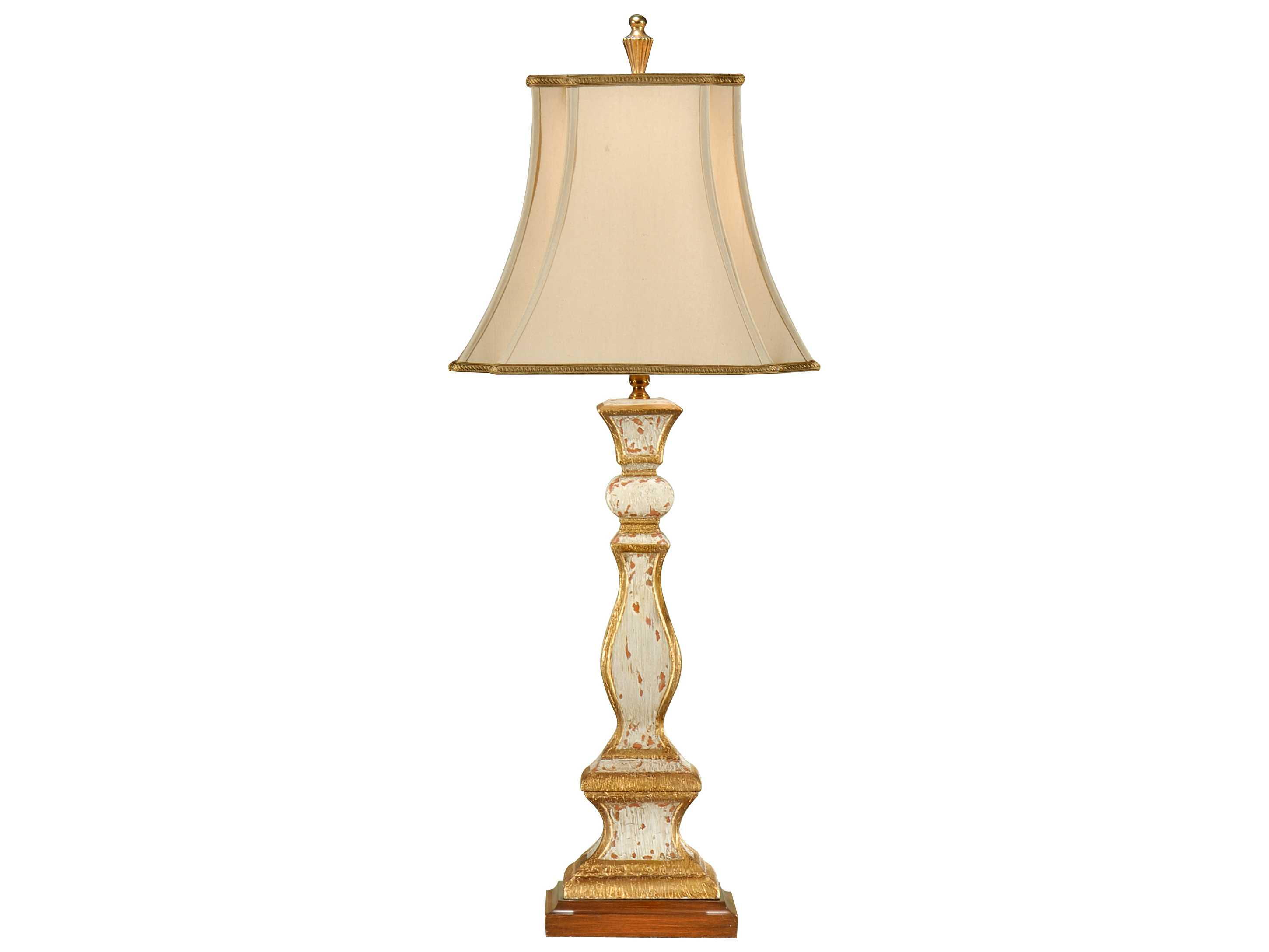 wildwood lamps old worn antiqued old white gold column. Black Bedroom Furniture Sets. Home Design Ideas