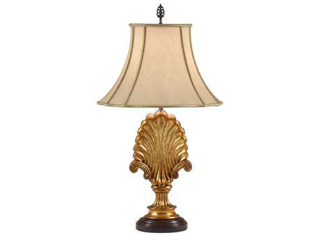 Wildwood Lamps Acacia Wood Shell And Scrolls Table Lamp