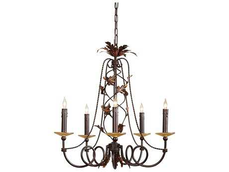 Wildwood Lamps With Amber Bobesche Five-Light Chandelier