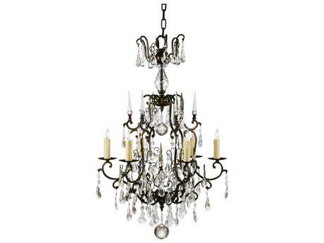 Wildwood Lamps Bronzed Iron With Crystal Drops Six-Light Chandelier