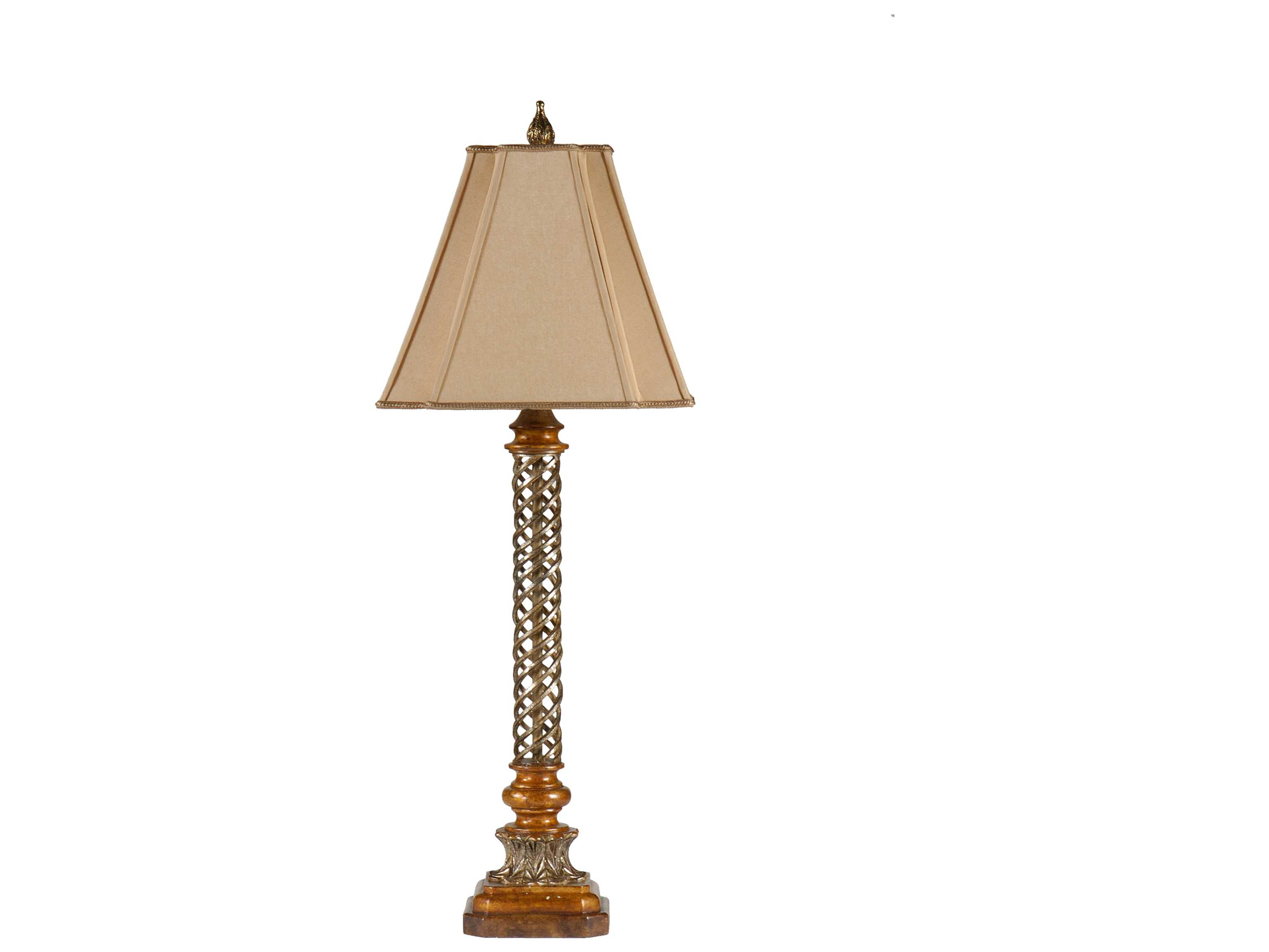 wildwood lamps finely twisted iron and faux wood table lamp wl9385. Black Bedroom Furniture Sets. Home Design Ideas