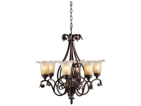 Wildwood Lamps Glass And Iron Old Iron Patina Six-Light Chandelier