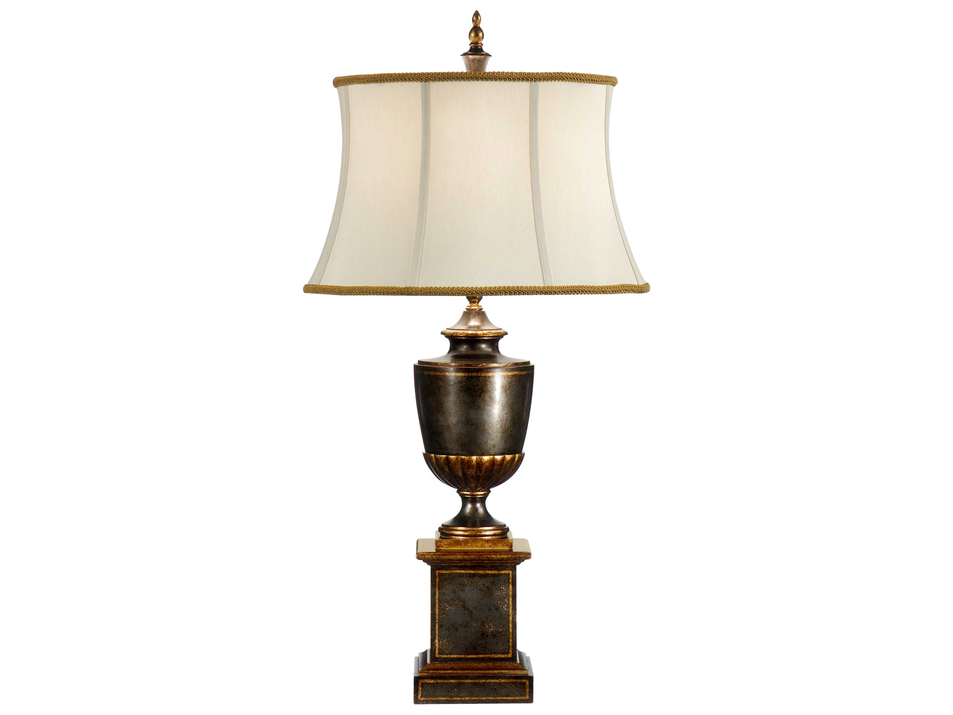 wildwood lamps worn green wood burnished gold accents urn table lamp wl9462. Black Bedroom Furniture Sets. Home Design Ideas