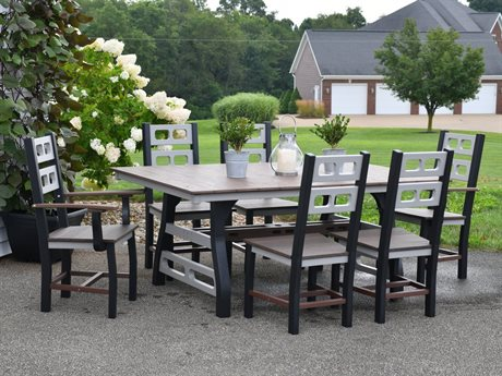Wildridge David Lewis Recycled Plastic Manhattan Forge 7 Piece Dining Set PatioLiving