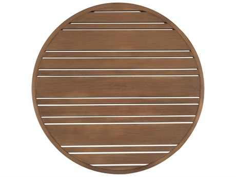 Woodard Extruded Aluminum Tri-Slat 36 Round Table Top with Umbrella Hole