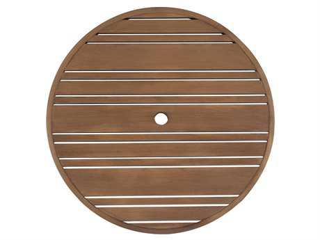 Woodard Extruded Aluminum Tri-Slat 48 Round Table Top with Umbrella Hole