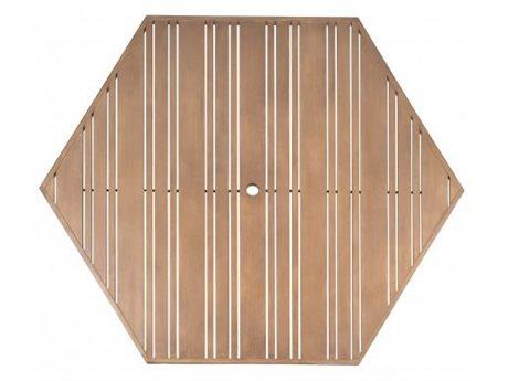 Woodard Tri-Slat Extruded Aluminum 60 Hexagonal Table Top with Umbrella Hole